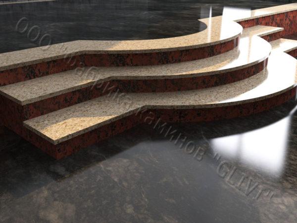 Лестничные ступени из натурального камня (гранита) Аксий, фото 1
