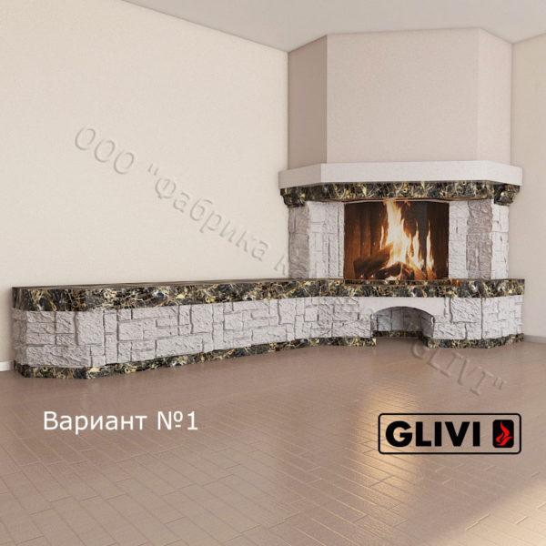 Угловой (пристенный) камин Буже без банкетки из мрамора