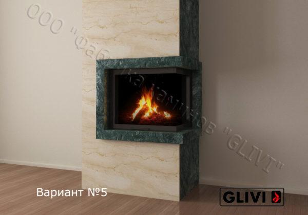 Фронтальный (прямой) камин Резольют из мрамора