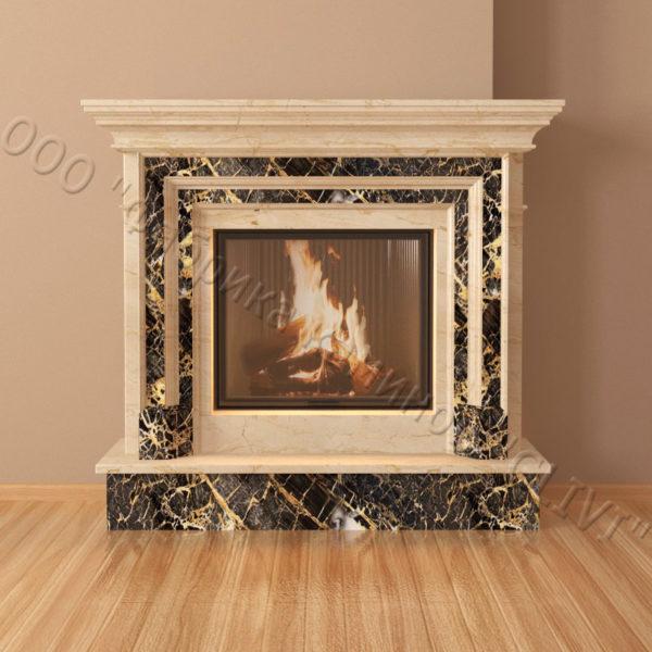 Мраморный каминный портал (облицовка) Адель, каталог (интернет-магазин) каминов из мрамора, изображение, фото 5