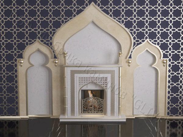 Мраморный каминный портал (облицовка) в восточном (арабском) стиле Афанди, каталог (интернет-магазин) каминов из мрамора, изображение, фото 1