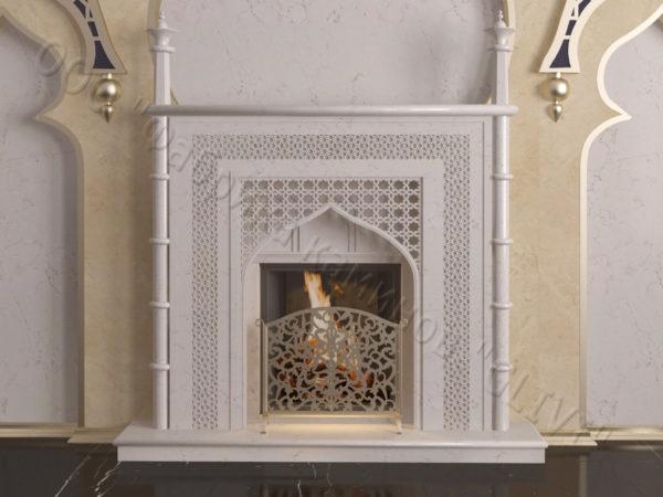 Мраморный каминный портал (облицовка) в восточном (арабском) стиле Афанди, каталог (интернет-магазин) каминов из мрамора, изображение, фото 10