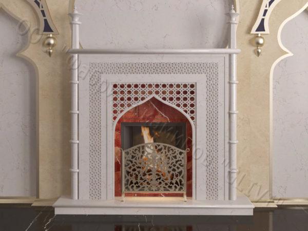 Мраморный каминный портал (облицовка) в восточном (арабском) стиле Афанди, каталог (интернет-магазин) каминов из мрамора, изображение, фото 11