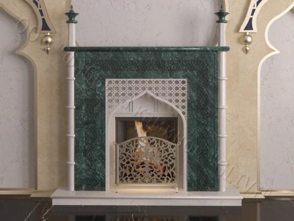 Мраморный каминный портал (облицовка) в восточном (арабском) стиле Афанди, каталог (интернет-магазин) каминов из мрамора, изображение, фото 12