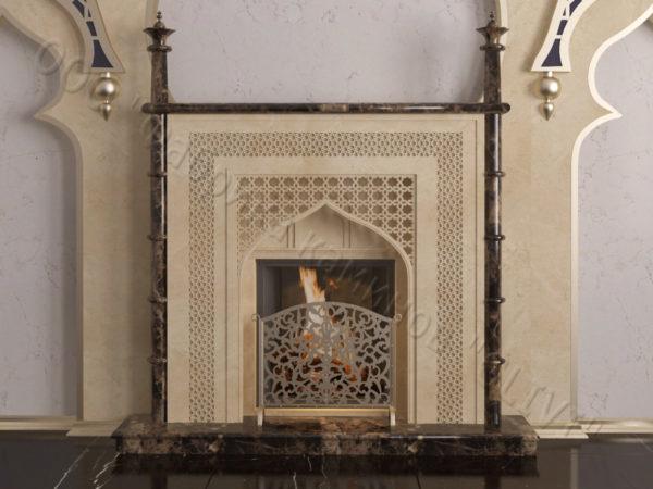 Мраморный каминный портал (облицовка) в восточном (арабском) стиле Афанди, каталог (интернет-магазин) каминов из мрамора, изображение, фото 13