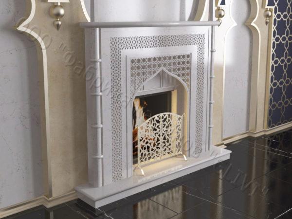 Мраморный каминный портал (облицовка) в восточном (арабском) стиле Афанди, каталог (интернет-магазин) каминов из мрамора, изображение, фото 2