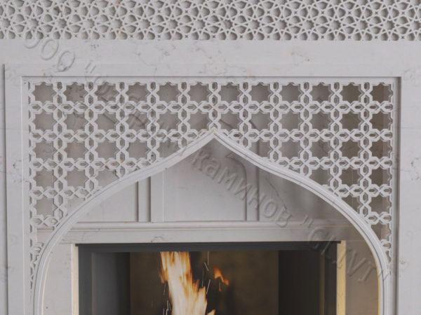 Мраморный каминный портал (облицовка) в восточном (арабском) стиле Афанди, каталог (интернет-магазин) каминов из мрамора, изображение, фото 3