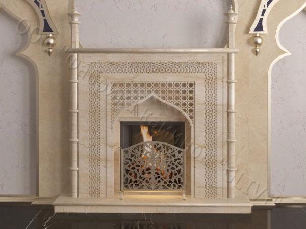 Мраморный каминный портал (облицовка) в восточном (арабском) стиле Афанди, каталог (интернет-магазин) каминов из мрамора, изображение, фото 6