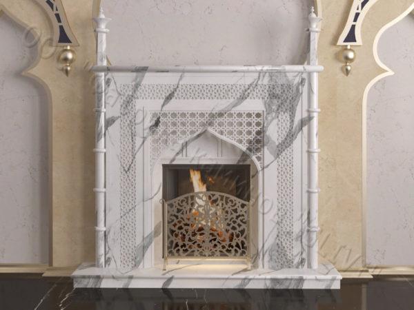 Мраморный каминный портал (облицовка) в восточном (арабском) стиле Афанди, каталог (интернет-магазин) каминов из мрамора, изображение, фото 7