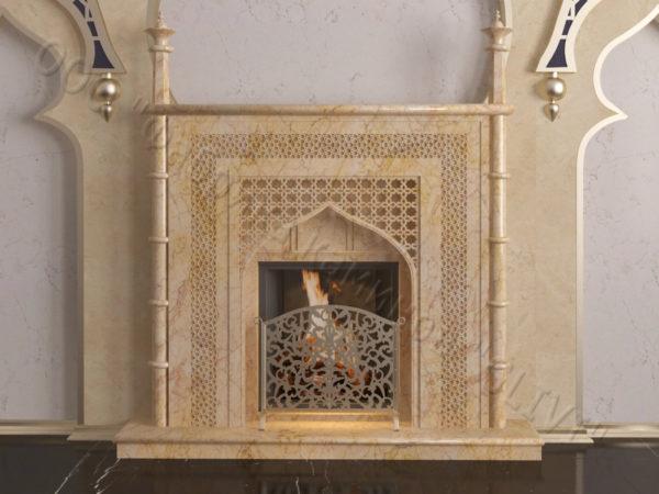 Мраморный каминный портал (облицовка) в восточном (арабском) стиле Афанди, каталог (интернет-магазин) каминов из мрамора, изображение, фото 8