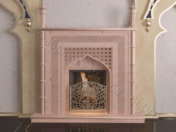 Мраморный каминный портал (облицовка) в восточном (арабском) стиле Афанди, каталог (интернет-магазин) каминов из мрамора, изображение, фото 9