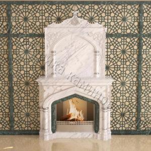 Мраморный каминный портал (облицовка) в восточном (арабском) стиле Ахир, каталог (интернет-магазин) каминов из мрамора, изображение, фото 1