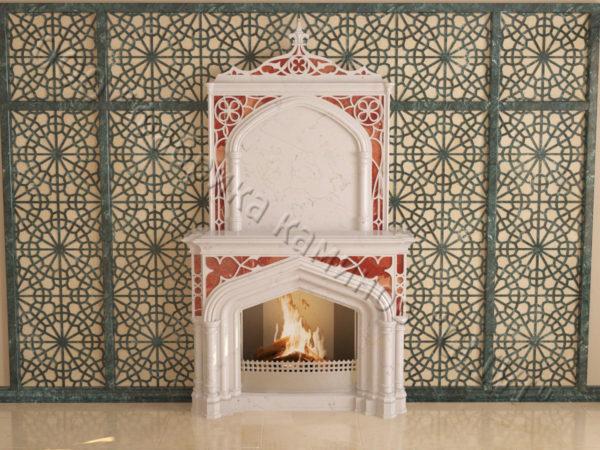 Мраморный каминный портал (облицовка) в восточном (арабском) стиле Ахир, каталог (интернет-магазин) каминов из мрамора, изображение, фото 10