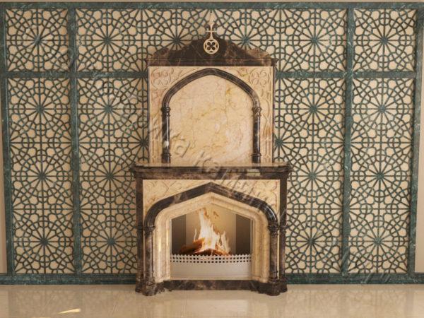 Мраморный каминный портал (облицовка) в восточном (арабском) стиле Ахир, каталог (интернет-магазин) каминов из мрамора, изображение, фото 11