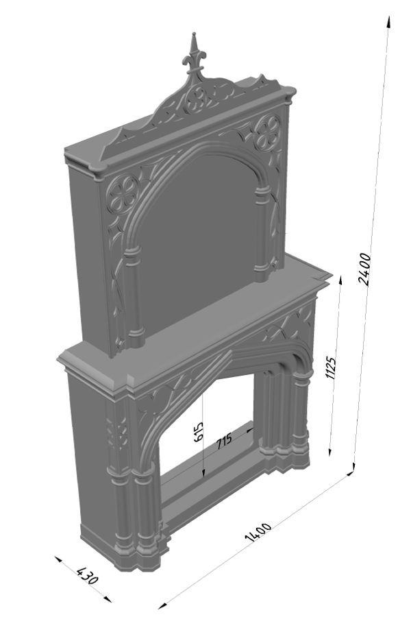 Мраморный каминный портал (облицовка) в восточном (арабском) стиле Ахир, каталог (интернет-магазин) каминов из мрамора, изображение, фото 12