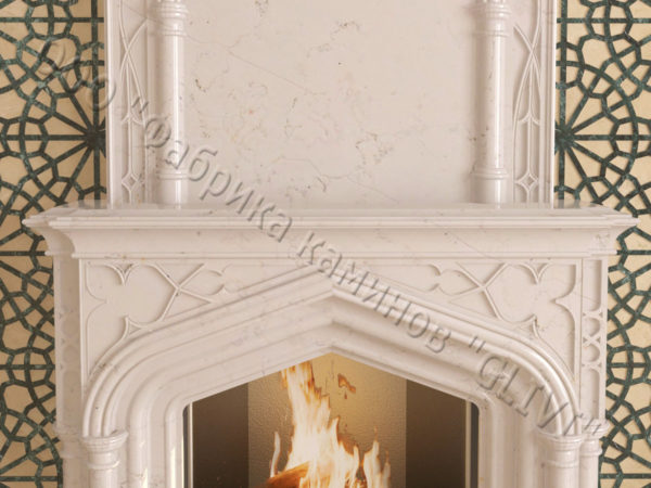 Мраморный каминный портал (облицовка) в восточном (арабском) стиле Ахир, каталог (интернет-магазин) каминов из мрамора, изображение, фото 3