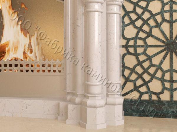 Мраморный каминный портал (облицовка) в восточном (арабском) стиле Ахир, каталог (интернет-магазин) каминов из мрамора, изображение, фото 4