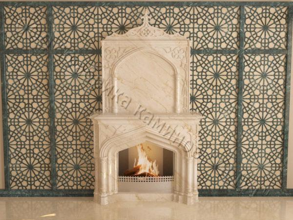 Мраморный каминный портал (облицовка) в восточном (арабском) стиле Ахир, каталог (интернет-магазин) каминов из мрамора, изображение, фото 5