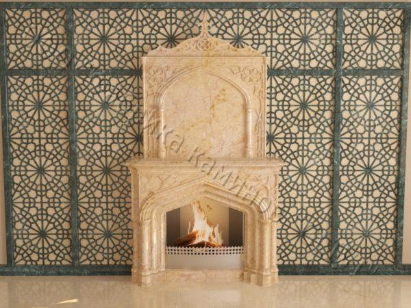 Мраморный каминный портал (облицовка) в восточном (арабском) стиле Ахир, каталог (интернет-магазин) каминов из мрамора, изображение, фото 6