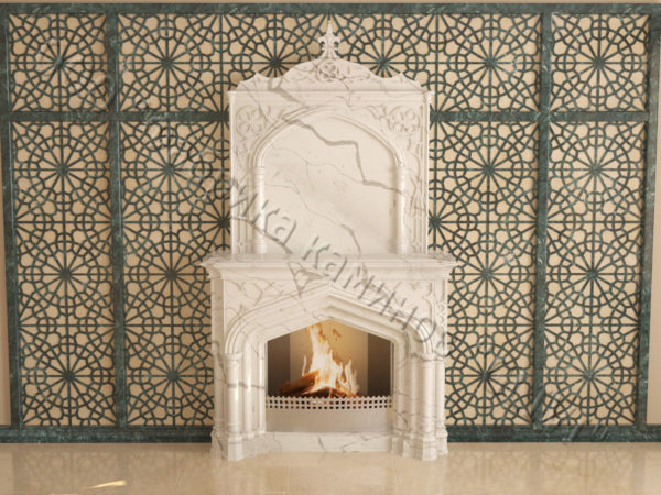 Мраморный каминный портал (облицовка) в восточном (арабском) стиле Ахир, каталог (интернет-магазин) каминов из мрамора, изображение, фото 7
