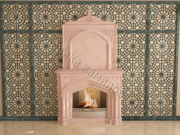 Мраморный каминный портал (облицовка) в восточном (арабском) стиле Ахир, каталог (интернет-магазин) каминов из мрамора, изображение, фото 8
