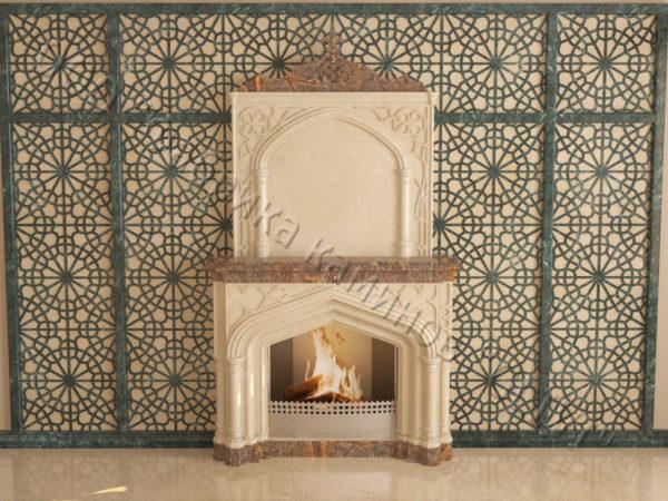Мраморный каминный портал (облицовка) в восточном (арабском) стиле Ахир, каталог (интернет-магазин) каминов из мрамора, изображение, фото 9