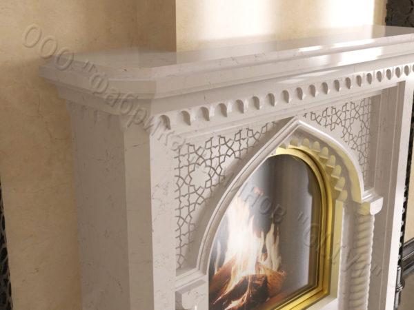 Мраморный каминный портал (облицовка) в восточном (арабском) стиле Ахир, каталог (интернет-магазин) каминов из мрамора, изображение, фото 2
