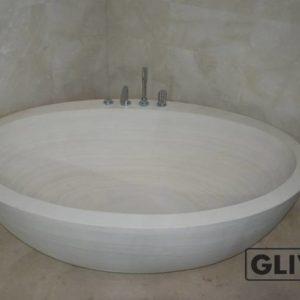 Ванная (пристанная или отдельностоящая) из натурального мрамора Анжелика, изображение, фото 1
