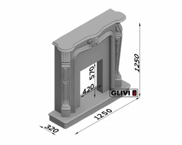 Мраморный каминный портал (облицовка) Анжело, каталог (интернет-магазин) каминов из мрамора, изображение, фото 7