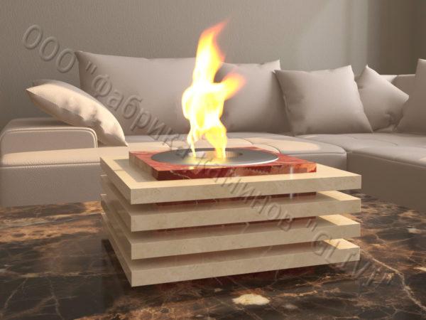 Мраморная облицовка (каминный портал) для камина на биотопливе Авиди, каталог (интернет-магазин) каминов из мрамора, изображение, фото 3