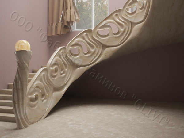 Лестница из натурального мрамора Барселона, интернет-магазин лестниц, изображение, фото 1