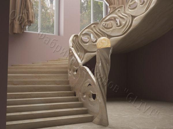 Лестница из натурального мрамора Барселона, интернет-магазин лестниц, изображение, фото 2