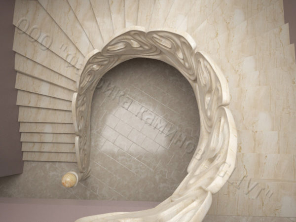 Лестница из натурального мрамора Барселона, интернет-магазин лестниц, изображение, фото 5