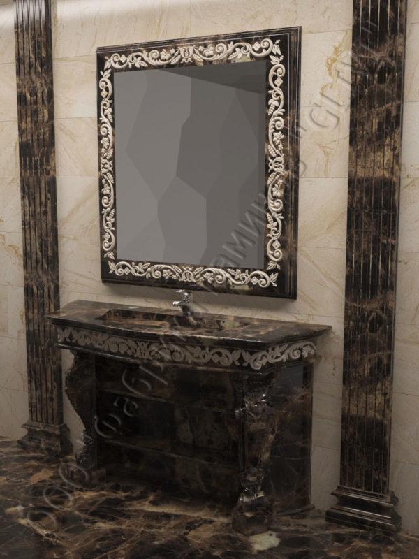 раморная раковина (умывальник) Брун, каталог раковин из камня, изображение, фото 2
