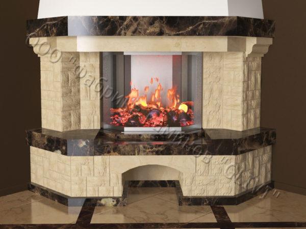Угловой (пристенный) каминный портал (облицовка) Буже без банкетки, каталог (интернет-магазин) каминов, изображение, фото 5