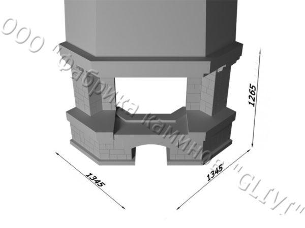 Угловой (пристенный) каминный портал (облицовка) Буже без банкетки, каталог (интернет-магазин) каминов, изображение, фото 6