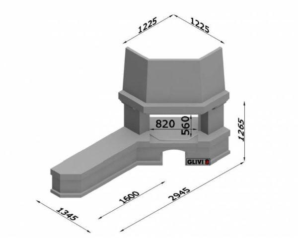Угловой (пристенный) каминный портал (облицовка) Буже с банкеткой, каталог (интернет-магазин) каминов, изображение, фото 1