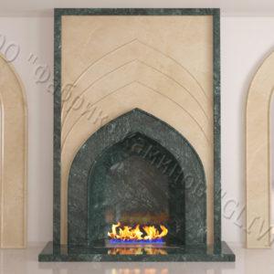 Мраморный каминный портал (облицовка) в восточном (арабском) стиле Дагман, каталог (интернет-магазин) каминов из мрамора, изображение, фото 1