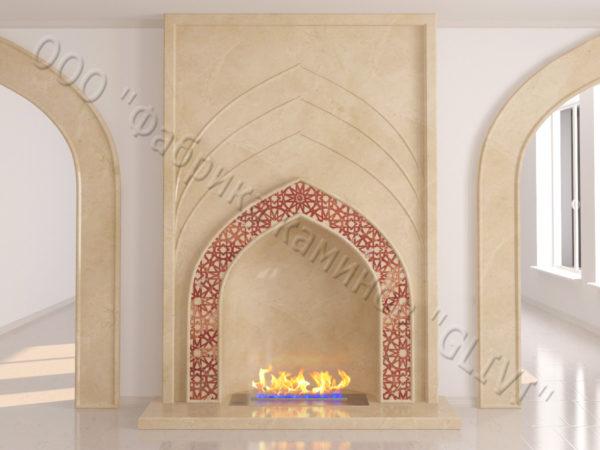 Мраморный каминный портал (облицовка) в восточном (арабском) стиле Дагман, каталог (интернет-магазин) каминов из мрамора, изображение, фото 2