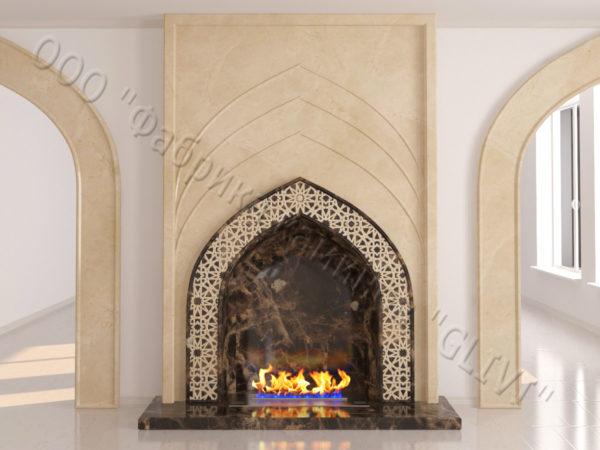 Мраморный каминный портал (облицовка) в восточном (арабском) стиле Дагман, каталог (интернет-магазин) каминов из мрамора, изображение, фото 3