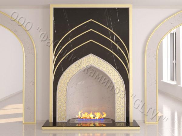 Мраморный каминный портал (облицовка) в восточном (арабском) стиле Дагман, каталог (интернет-магазин) каминов из мрамора, изображение, фото 6