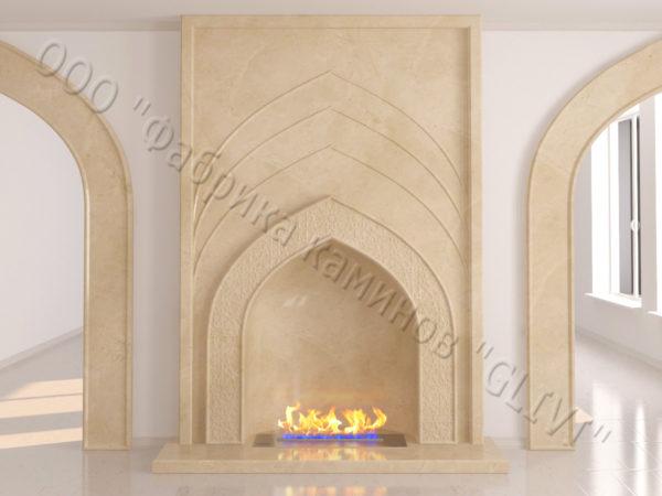 Мраморный каминный портал (облицовка) в восточном (арабском) стиле Дагман, каталог (интернет-магазин) каминов из мрамора, изображение, фото 7