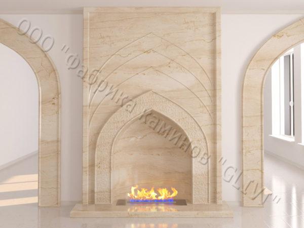 Мраморный каминный портал (облицовка) в восточном (арабском) стиле Дагман, каталог (интернет-магазин) каминов из мрамора, изображение, фото 8