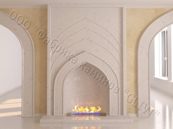 Мраморный каминный портал (облицовка) в восточном (арабском) стиле Дагман, каталог (интернет-магазин) каминов из мрамора, изображение, фото 9