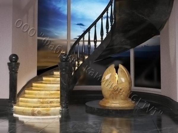 Лестница из оникса Данио, каталог лестниц из камня, изображение, фото 1