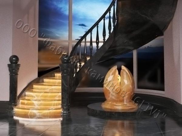 Лестница из оникса Данио, каталог лестниц из камня, изображение, фото 3