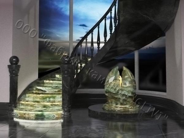 Лестница из оникса Данио, каталог лестниц из камня, изображение, фото 5