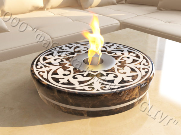 Мраморная облицовка (каминный портал) для камина на биотопливе Дия, каталог (интернет-магазин) каминов из мрамора, изображение, фото 2
