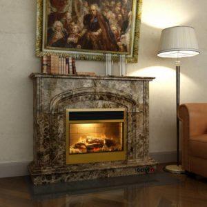 Мраморный каминный портал (облицовка) Эдмонтон без банкетки, каталог (интернет-магазин) каминов из мрамора, изображение, фото 1