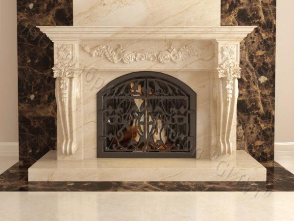 Мраморный камин с открытой топкой Эрос, каталог (интернет-магазин) каминов из мрамора, изображение, фото 1